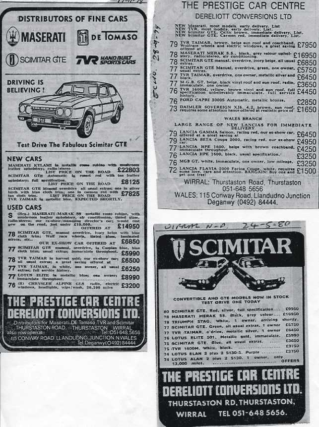 Maserati, de Tomaso, Scimitar, TVR, adverts