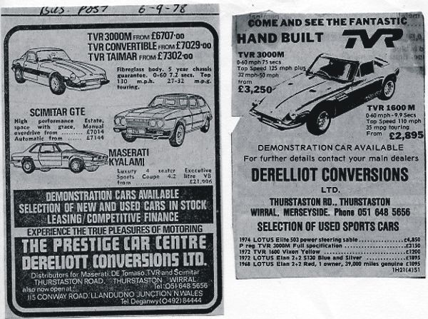 TVR, Scimitar, Maserati, adverts