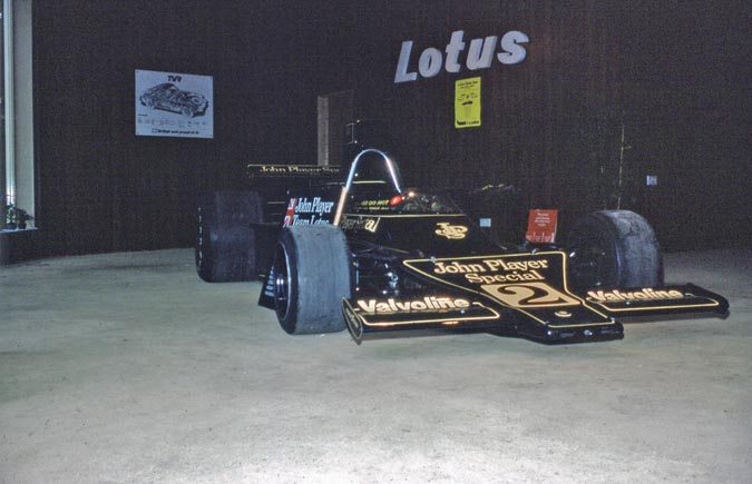Lotus 72 F1 car in Dereliott showroom Thurstaston Wirral.